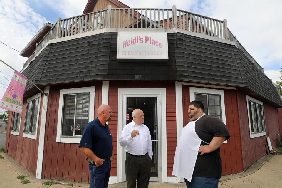 Heidi's Place owner Alex Kosmidis (right) talked about traffic safety with Brockton Mayor Bill Carpenter (center) and DPW Commissioner Larry Rowley.