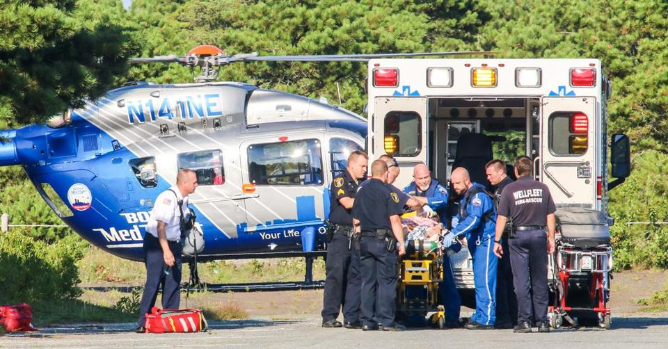 08-15-2018: Victim of possible shark attack is loaded onto helicopter. (Waiting more complete caption info.) Photo: David Curran