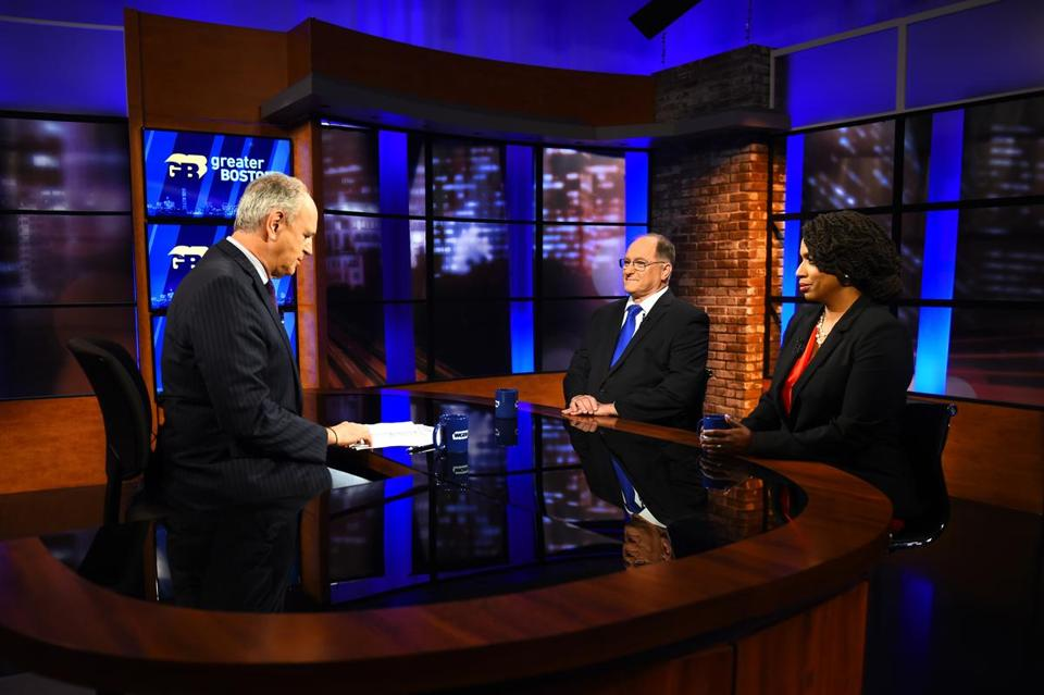 Incumbent Michael Capuano and Boston City Councilor Ayanna Pressley faced off in their final debate in the race for the democratic nomination for the Massachusetts 7th congressional district seat. On WGBH's Greater Boston with Jim Braude (left). Photo taken at the WGBH Studios on August 15, 2018. Photo: Meredith Nierman, WGBH News