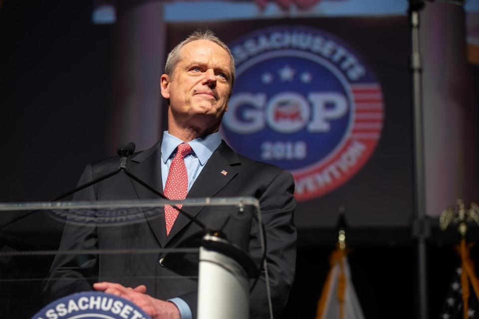 04/28/2018 WORCESTER, MA Governor Charlie Baker (cq) spoke during the Massachusetts GOP State Convention held at the DCU Center in Worcester. (Aram Boghosian for The Boston Globe)