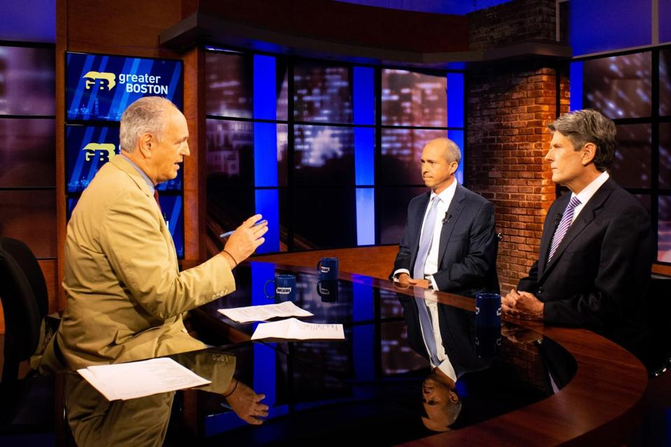Democratic candidates for governor of Massachusetts Jay Gonzalez (center) and Bob Massie (right) with host Jim Braude (left) during a debate on WGBH's Greater Boston television show this month.