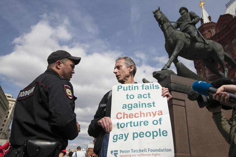 Russian gay rights activists rallied near Red Square in Moscow prior to the  recent World Cup