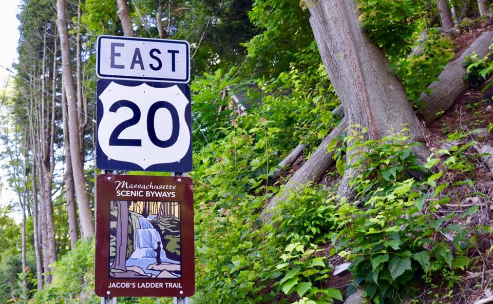 A sign for Route 20 in the western part of the state. Lawmakers are trying to designate the highway as a historic route.