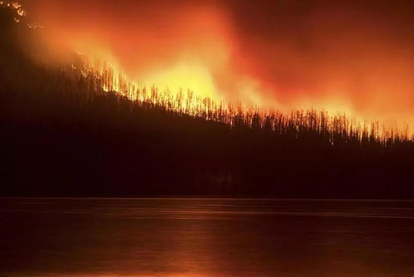 A fire burns next to Lake McDonald in Glacier National Park in northwest Montana on Aug. 12.