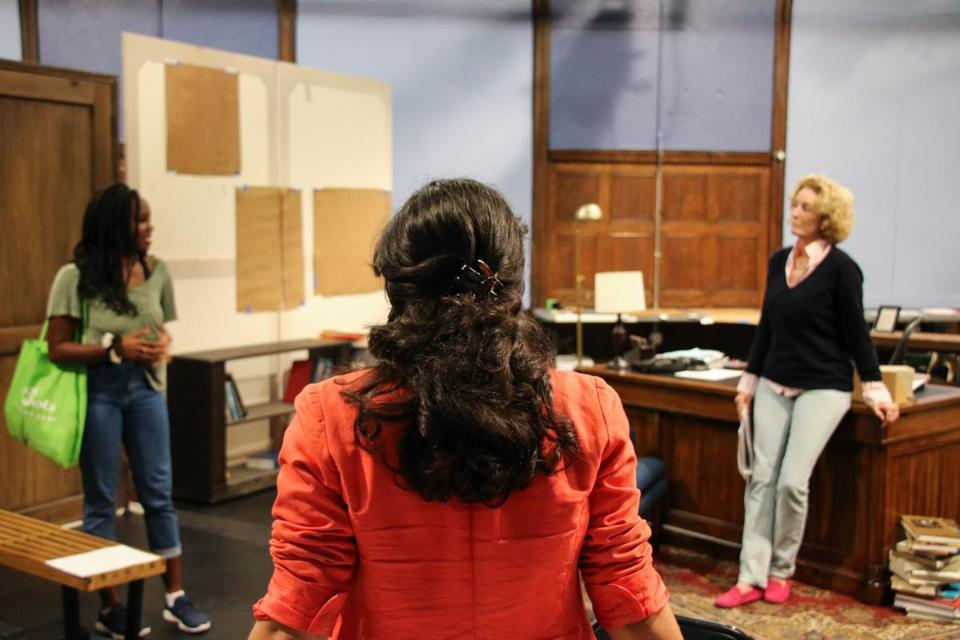 "Playwright Eleanor Burgess (foreground) with actors Jordan Boatman (left) and Lisa Banes during rehearsal for ""The Niceties."""