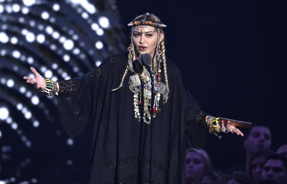 Madonna paid tribute to Aretha Franklin during Monday's MTV Video Music Awards.