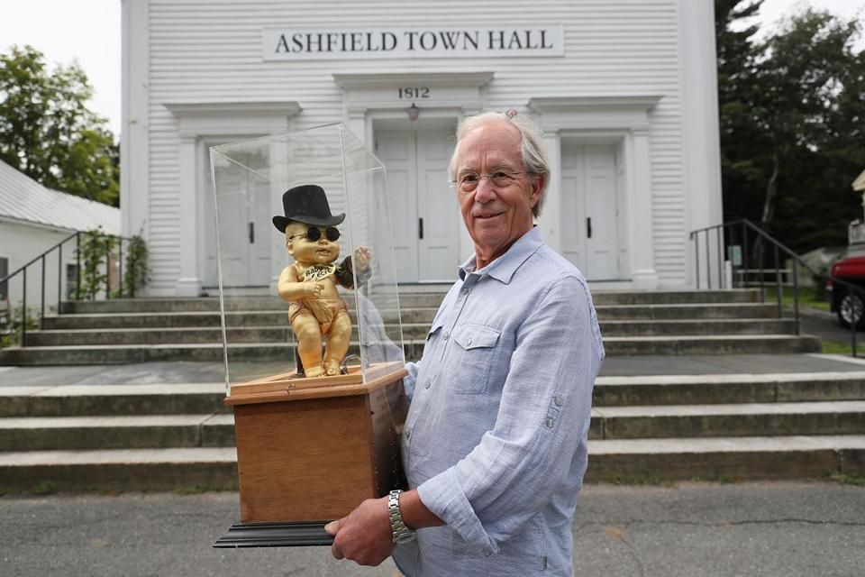 Harry Keramidas, a veteran of the movie business, was instrumental in getting the Ashfield Film Festival off the ground. He's holding the mascot, Baby Cecil.