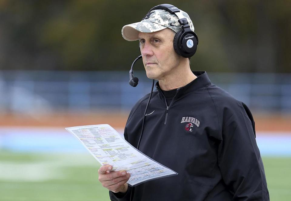 FILE - In this Saturday, Nov. 7, 2015 photo, Harvard football head coach Tim Murphy looks on from the sidelines against Columbia during a college football game in Manhattan, N.Y. With a victory over their archrivals in the 133rd edition of The Game on Saturday, Nov. 19, 2016, Harvard (7-2, 5-1) would clinch a share of a fourth straight Ivy League championship for the first time in the school's history. (AP Photo/Gregory Payan, File)