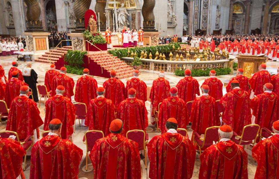 The Pro Eligendo Romano Pontefice ('For the Election of the Roman Pontiff') mass is presided by Angelo Sodano, the elderly dean of the College of Cardinals, and is also open to non-voting cardinals - those aged more than 80. The next pope will take over a Church beset by infighting, scandal and dwindling support, particularly in the West. EPA/MICHAEL KAPPELER
