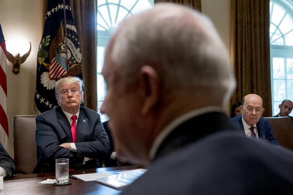 President Trump listened as Attorney General Jeff Sessions spoke during a Cabinet meeting last week.