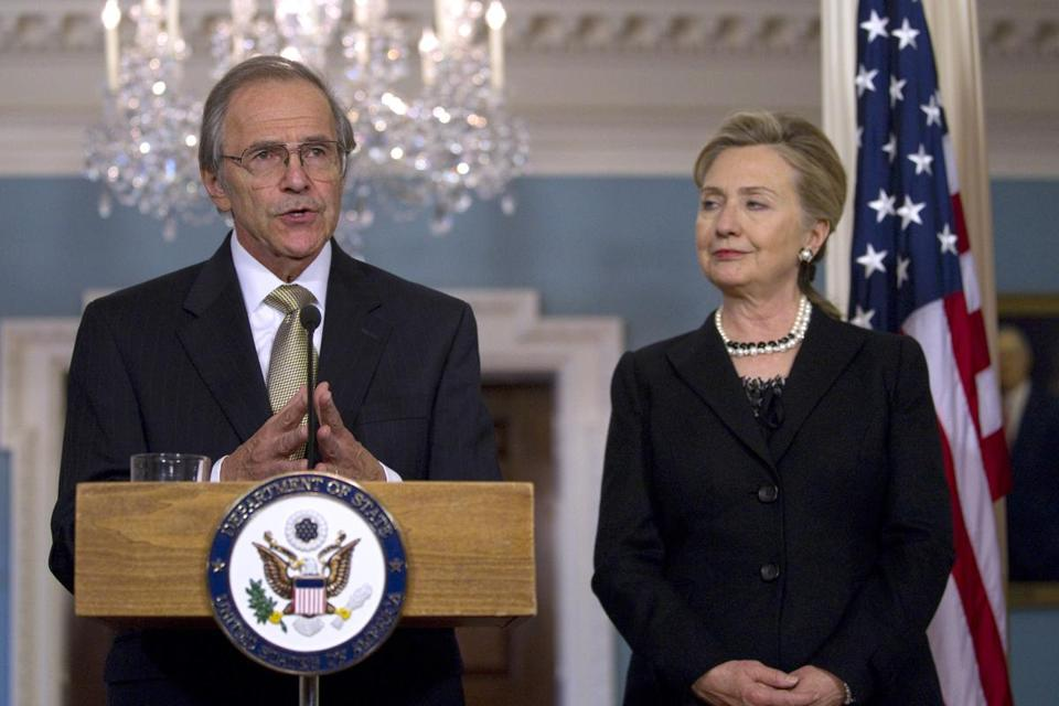 Hillary Clinton, then the secretary of state, listened to Dr. Lyman speak after he was named special envoy to Sudan.