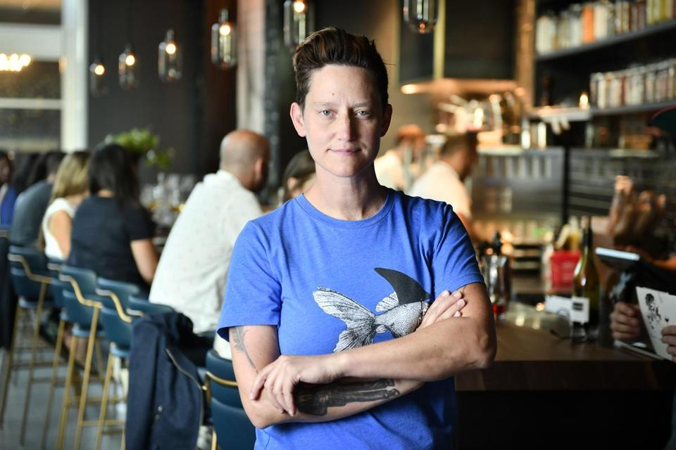 BOSTON, 8/20/2018 - Owner Haley Fortie at Nathalie, a new wine bar in the Fenway. Josh Reynolds for The Boston Globe (Lifestyle, food, Julian)