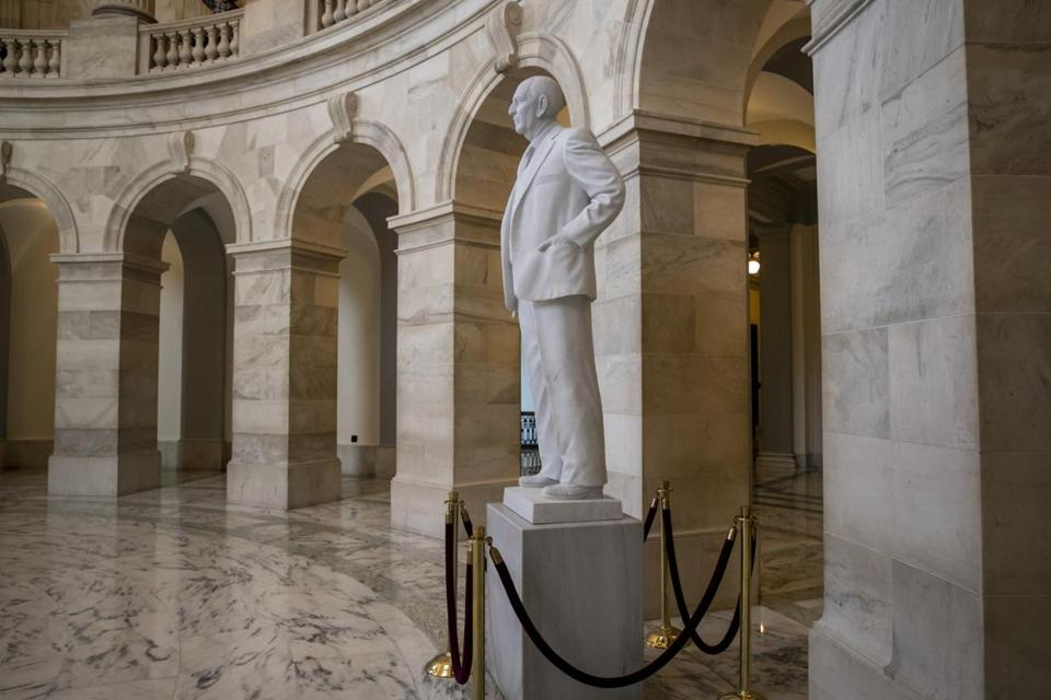 A statue of Senator Richard Russell of Georgia stands in the rotunda of a Senate office building named after him, on Capitol Hill in Washington.