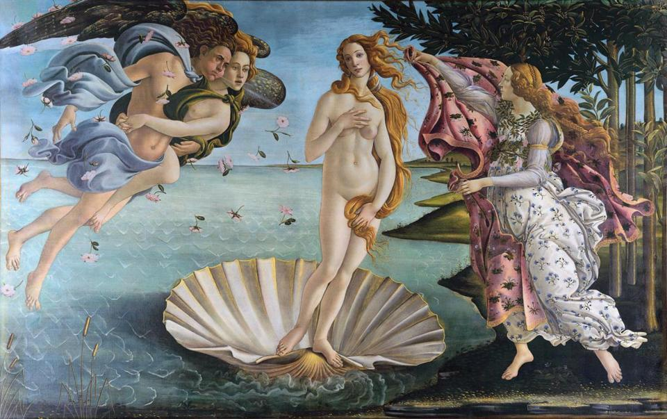 "Botticelli's ""The Birth of Venus"" is one of three works referenced by Respighi in his ""Trittico Botticelliano."""