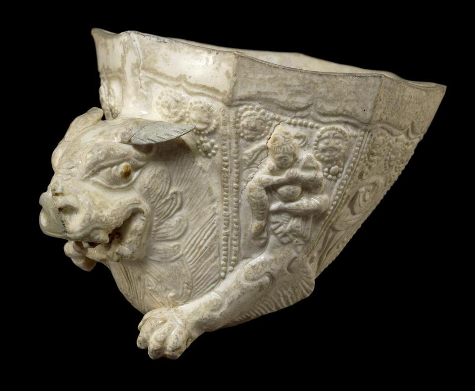 "An octagonal cup with the forepart of a lion, from China's Sui or Tang dynasty, in ""Animal-Shaped Vessels From the Ancient World: Feasting With Gods, Heroes, and Kings,"" at Harvard Art Museums through Jan. 6."