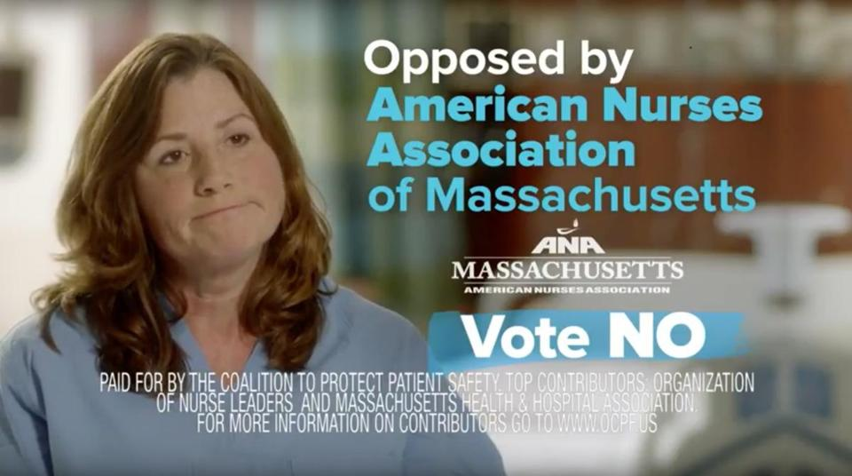 31nurseads -- Screenshot from an ad from the Coalition to Protect Patient Safety, which is backed by the Massachusetts Health & Hospital Association. (Coalition to Protect Patient Safety)