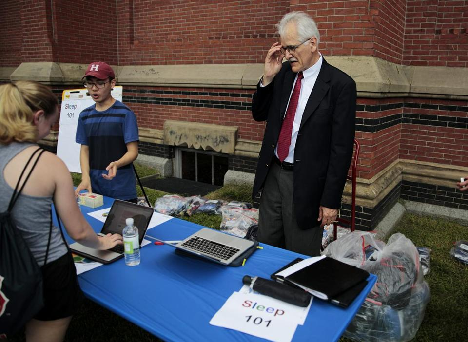 Raymond So, a sophomore, and professor Charles Czeisler talked to freshmen about sleep.