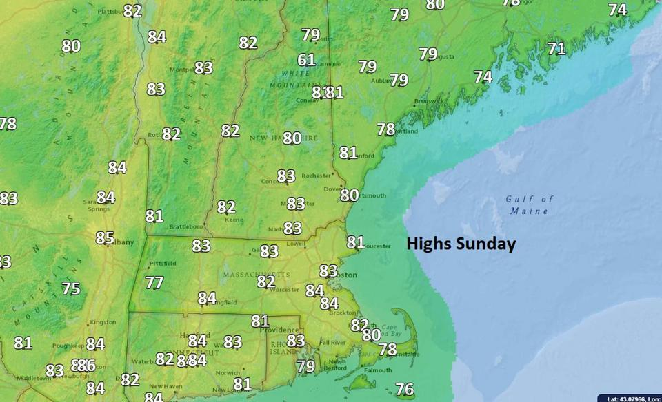 Sunday's temperatures will be above average.