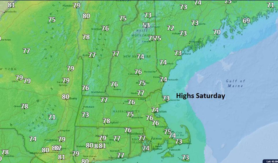 Temperatures Saturday will be below average.