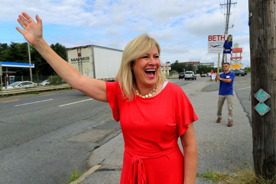 Beth Lindstrom, seeking Elizabeth Warren's US Senate seat, spent part of Saturday in Saugus waving to drivers on Route 1.