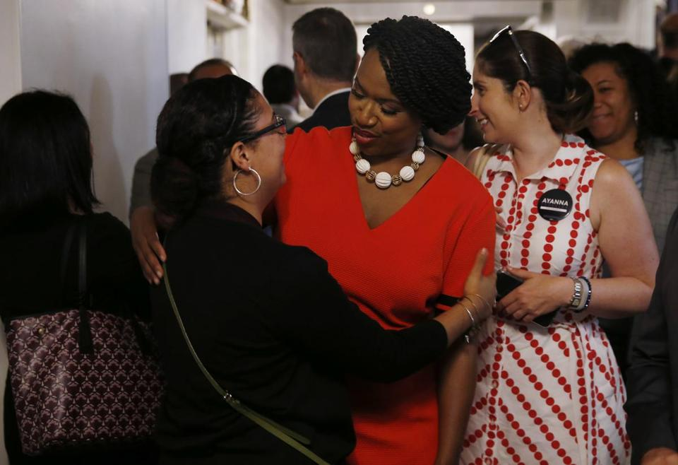 Boston City Councilor Ayanna Pressley greeted a supporter at the Greater Boston Labor Council's Annual Labor Day Breakfast. Pressley is running against Capuano in the state's seventh congressional district race.