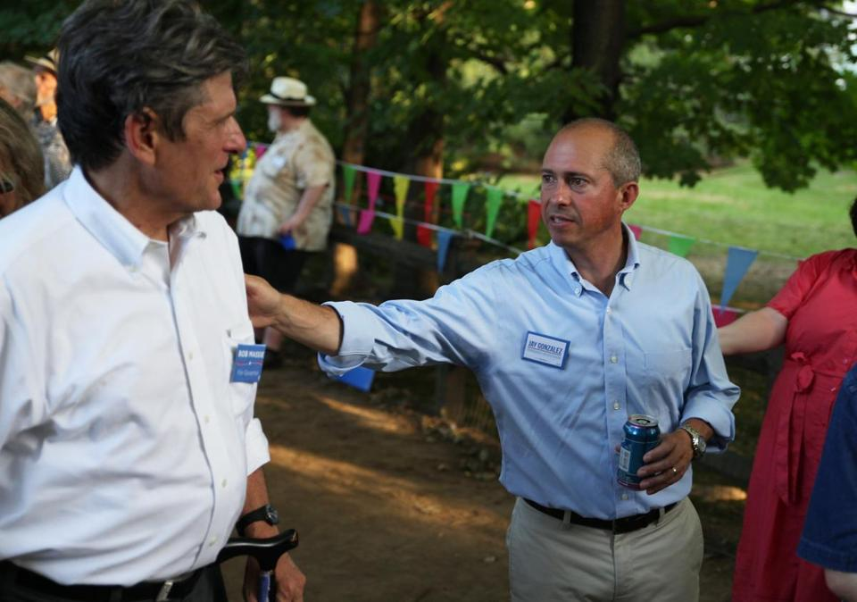 Democratic candidates for governor Bob Massie (left) and Jay Gonzalez campaigned in Newton on Labor Day.