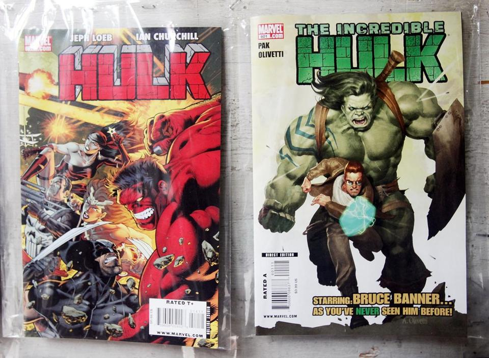 Incredible Hulk comic books were displayed at a store in New York City. Among Ms. Severin's most notable superhero work were runs of The Incredible Hulk.