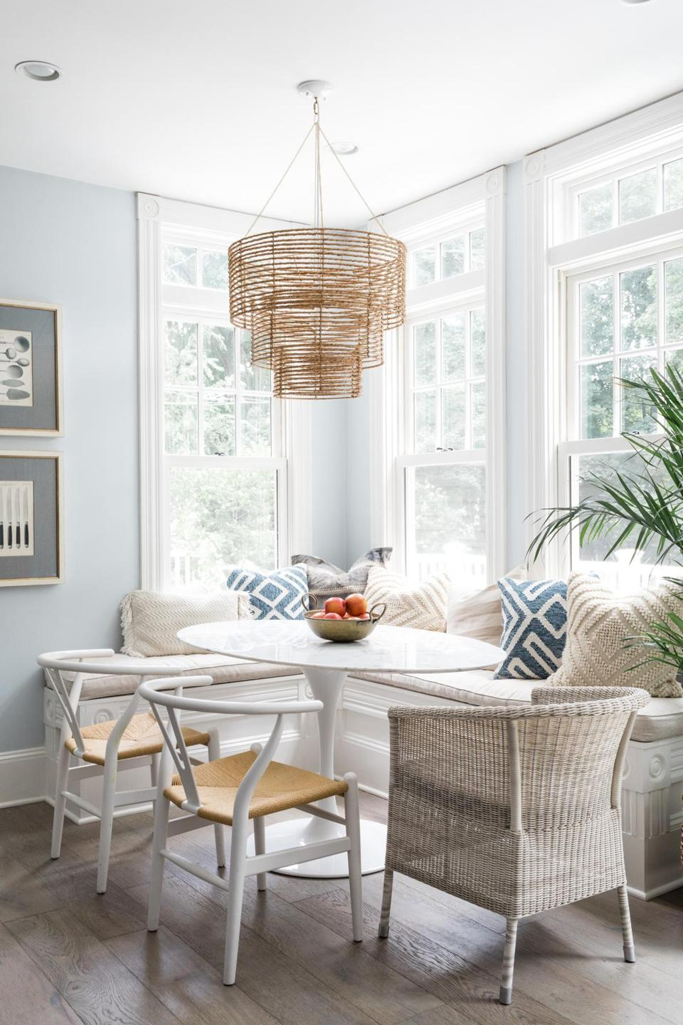 Minns never misses a chance to hang a bohemian-style chandelier. The one in the breakfast nook is by Selamat Designs.