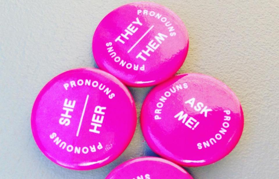 The XOXO art and technology festival in Portland, Ore., distributed pins so attendees could make their identifying pronouns clear.