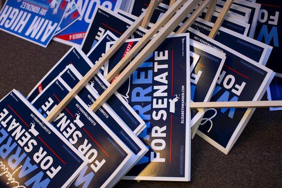 Mandatory Credit: Photo by CJ GUNTHER/EPA-EFE/REX/Shutterstock (9865619a) Campaign signs for United States Senator Elizabeth Warren on the floor of a campaign office in Boston, Massachusetts, USA, 05 September 2018. Following the Massachusetts primary, Warren will face Republican candidate Geoff Diehl in the general election in November. United States Senator Elizabeth Warren Campaign Signs, Boston, USA - 05 Sep 2018