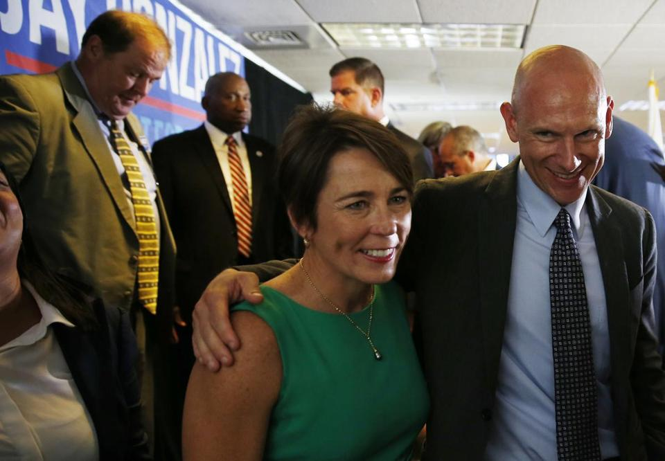 Dorchester, MA--9/5/2018-- Massachusetts Attorney General Maura Healey shares a moment with Democratic nominee for Lieutenant Governor Quentin Palfrey at a post-primary unity event hosted by The Massachusetts Democratic Party.(Jessica Rinaldi/Globe Staff) Topic: Reporter: