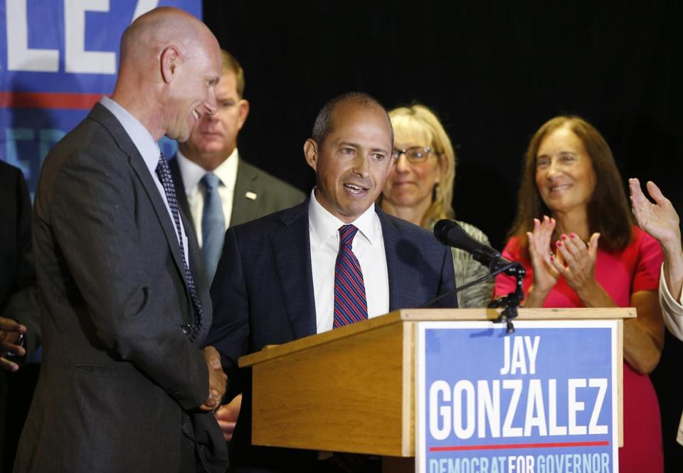 On Wednesday, Jay Gonzalez (left) celebrated winning the Democratic nomination to challenge Governor Charlie Baker.