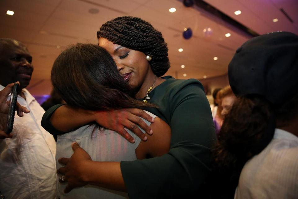 Ayanna Pressley greets supporters after becoming the Democratic candidate for the Massachusetts 7th Congressional District during the her campaign primary night celebration at IBEW Local 103, in Dorchester, MA on September 04, 2018. Ayanna Pressley is a Boston City Councilor and Democratic candidate for the Massachusetts 7th Congressional District.