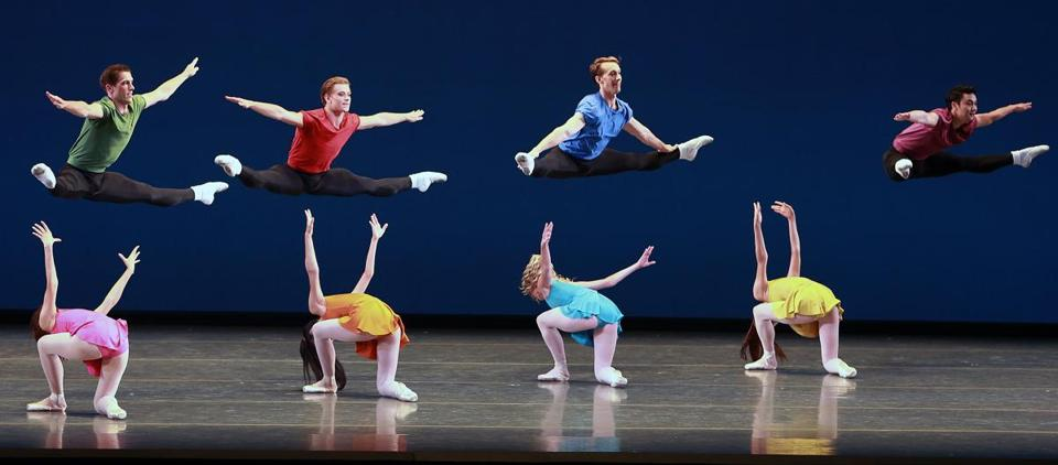 "Dancers during a dress rehearsal of the Boston Ballet production of ""Genius at Play"" at the Opera House."