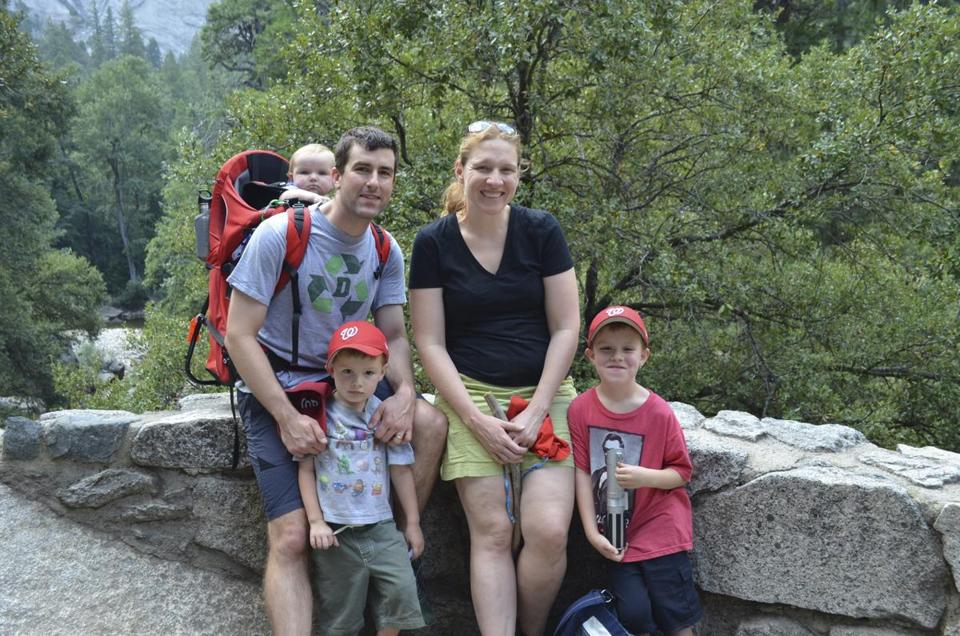 Ms. Dunsmore with her husband, Jon, and their children, from left, Nora (in carrier), Peter, and Nate, in Yosemite National Park in August 2014.