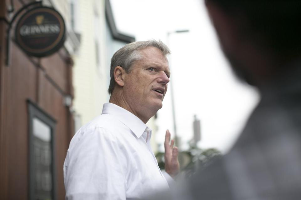 September 9, 2018 - L Street Tavern Governor Charlie Baker talks to the press outside L Street Tavern Governor Charlie Baker campaigns at the L Street Tavern in South Boston Photo by Katherine Taylor for The Boston Globe