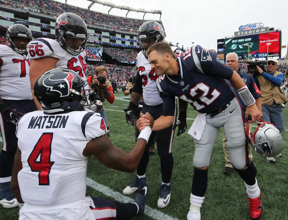 Tom Brady met Texans counterpart DeShaun Watson after the Patriots defeated the Texans 27-20.