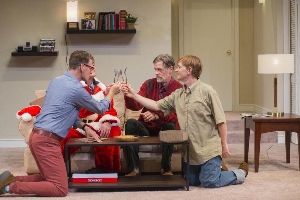 "From left: Michael Kaye, Dennis Trainor Jr. (partially hidden), Ken Cheeseman, and Shelley Bolman in New Repertory Theatre's ""Straight White Men."""