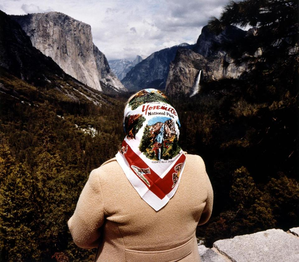 "From top: Roger Minick's ""Woman With Scarf at Inspiration Point, Yosemite National Park, California""; Mark Klett's ""Contemplating the View at Muley Pt., Utah""; and Leon Levinstein's ""New York."""