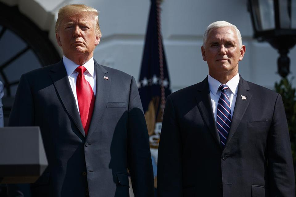 President Trump with Vice President Mike Pence on the South Lawn of the White House earlier this year.