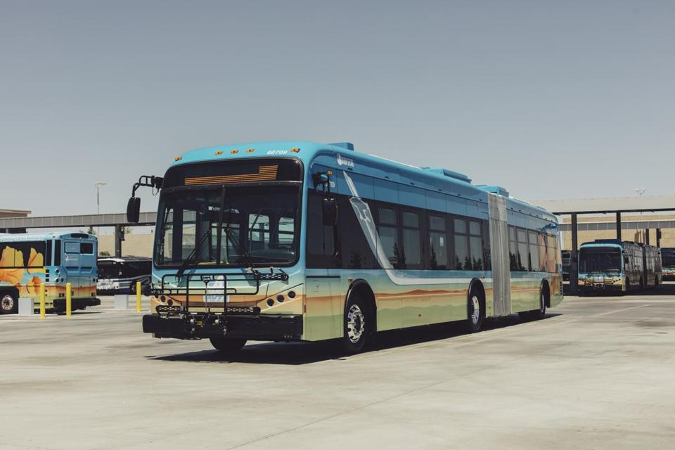 A 60-foot electric bus used by the Antelope Valley Transit Authority, in Lancaster, Calif., May 17, 2018. The authority, which serves some 450,000 residents in parts of Los Angeles County, wants to be the first transit agency with an all-electric bus fleet. (Rozette Rago/The New York Times)