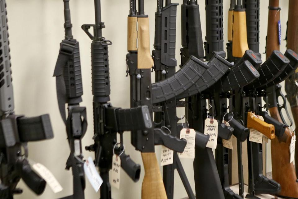 Various models of semi-automatic rifles were displayed at a store in Pennsylvania.