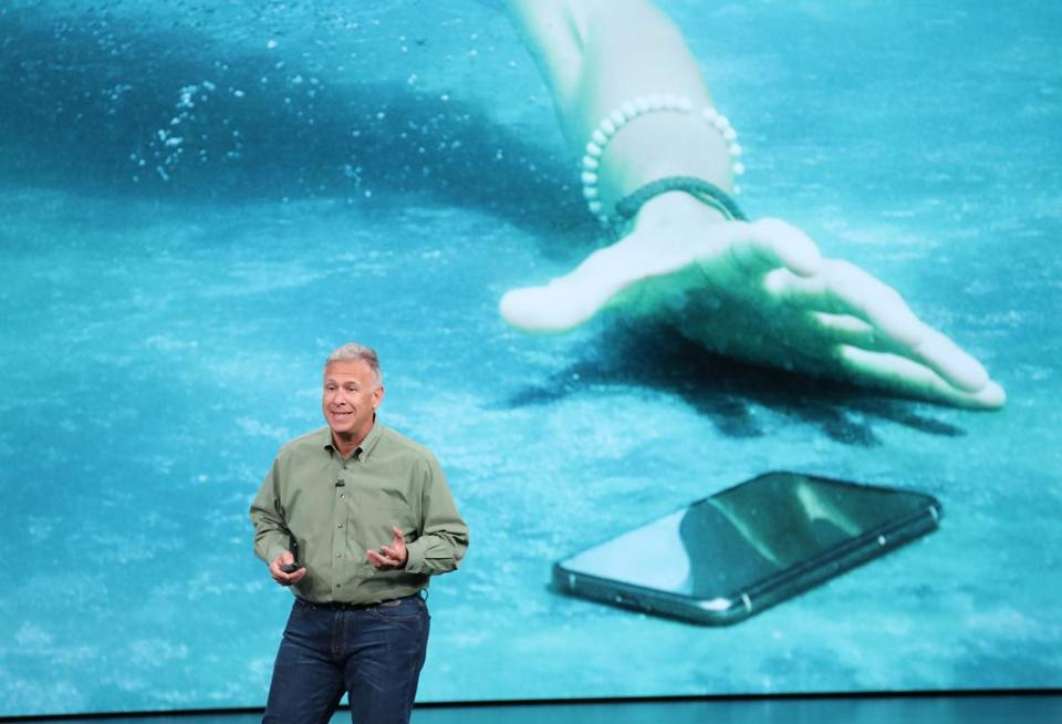Phil Schiller spoke about the iPhone XS.