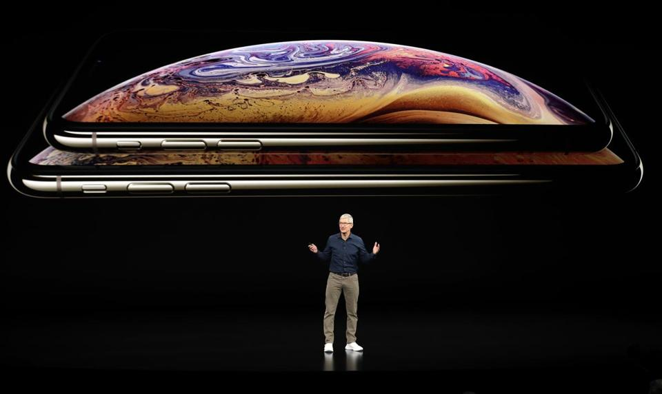 Apple CEO Tim Cook discussed the new iPhone models at during an event Wednesday in Cupertino, Calif.
