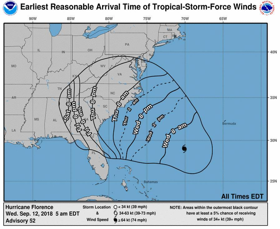 A timetable of tropical storm-force winds arriving across the southeast.