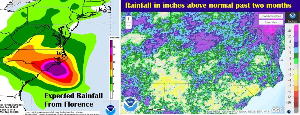 A side-by-side look at predicted rainfall from Florence and how much above or below rain has been the past two months.