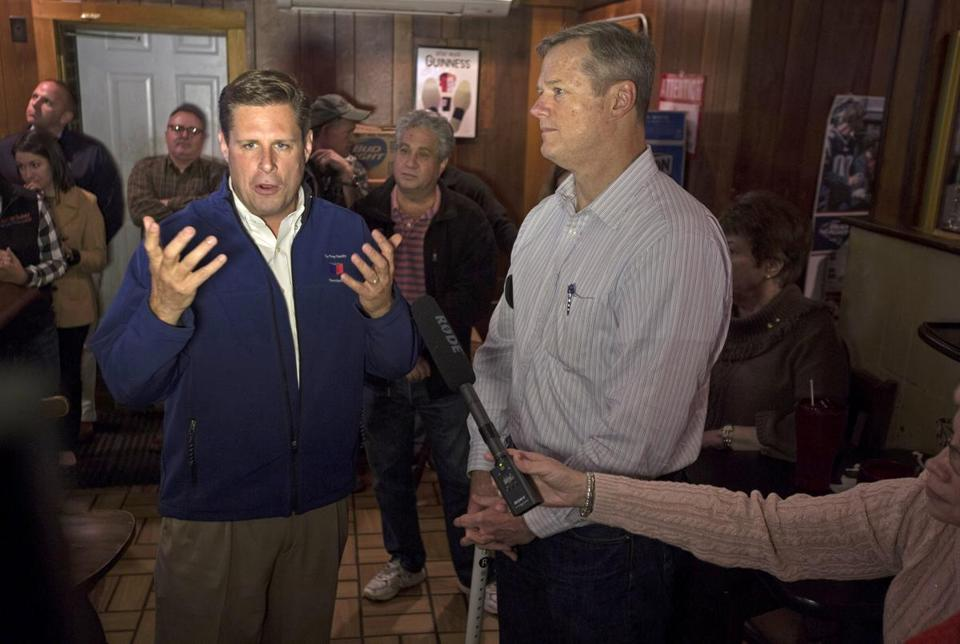 Geoff Diehl (left) campaigned with Governor Charlie Baker in 2015.