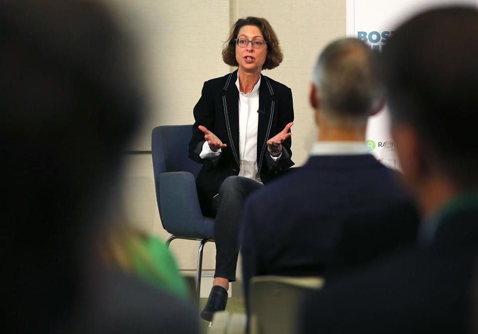 Abby Johnson, Fidelity Investments CEO, spoke Friday at a presentation during Boston Fintech week.