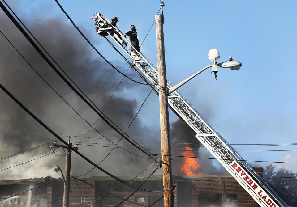 firefighters battle five alarm blaze in revere the boston globe