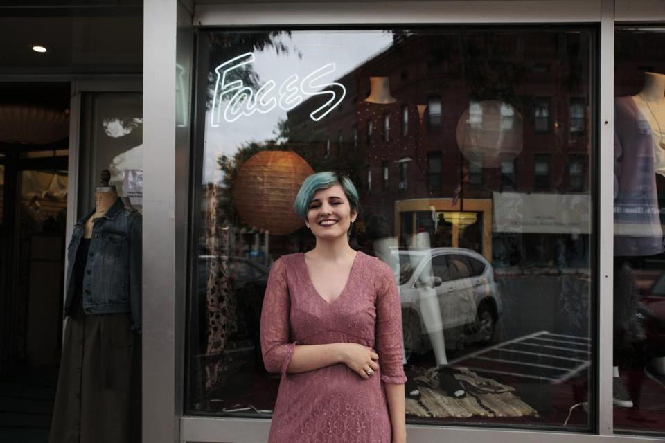 Northampton, MA - 9/13/2018 - Alivia Caruso, 21, poses for a portrait on Main Street in Northampton. (Michael Swensen for The Boston Globe) Topic: (metro)